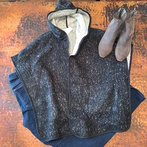NWT Loft Charcoal Textured Hooded Open Poncho